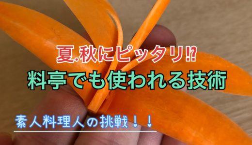 【素人料理人の挑戦】人参による飾り切り!これからの季節にピッタリの飾り⁉︎-トンボ編-